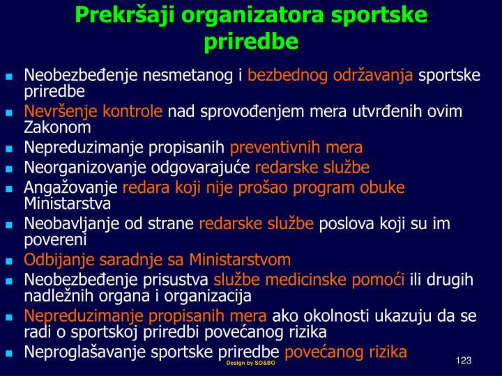Prekršaji organizatora sportske priredbe