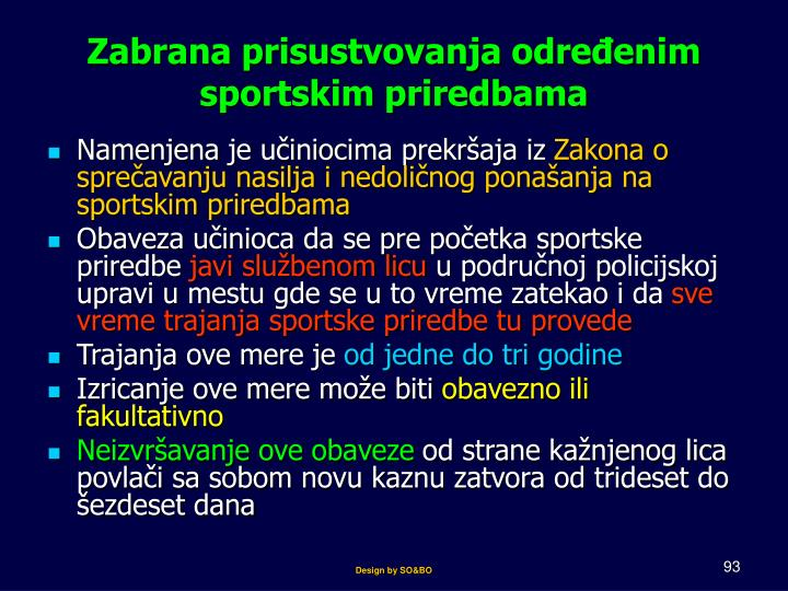 Zabrana prisustvovanja određenim sportskim priredbama