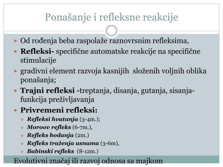 Ponašanje i refleksne reakcije
