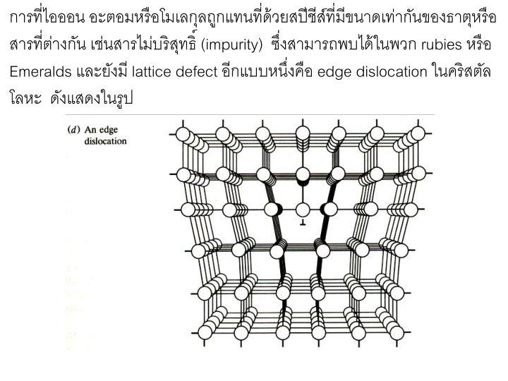 การที่ไอออน อะตอมหรือโมเลกุลถูกแทนที่ด้วยสปีชีส์ที่มีขนาดเท่ากันของธาตุหรือ