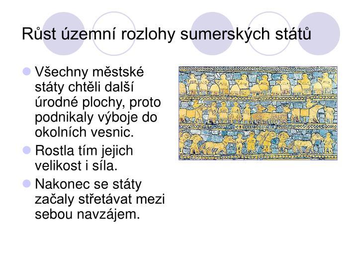Růst územní rozlohy sumerských států