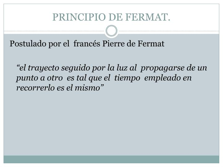 PRINCIPIO DE FERMAT.