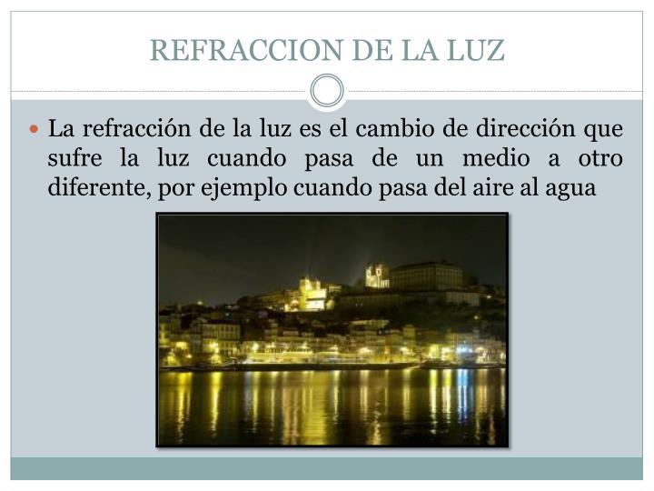 REFRACCION DE LA LUZ