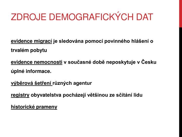 Zdroje demografických dat