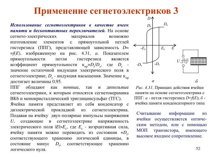 Использование сегнетоэлектриков в качестве ячеек памяти и бесконтактных переключателей.