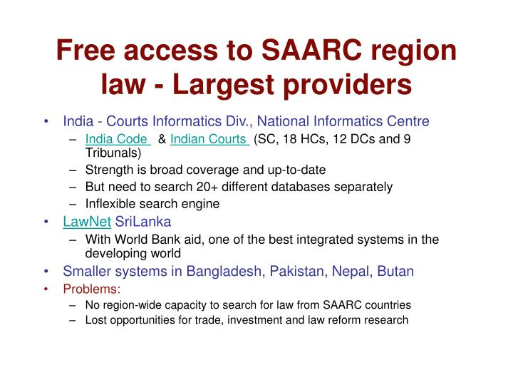 Free access to SAARC region law - Largest providers