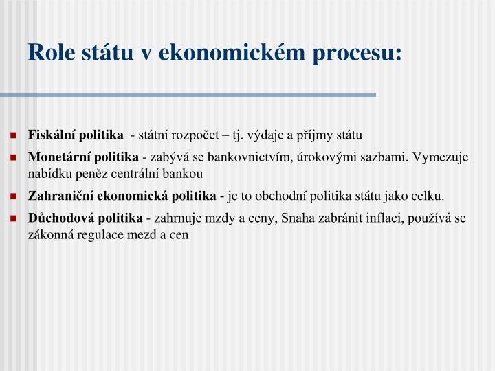 Role státu v ekonomickém procesu: