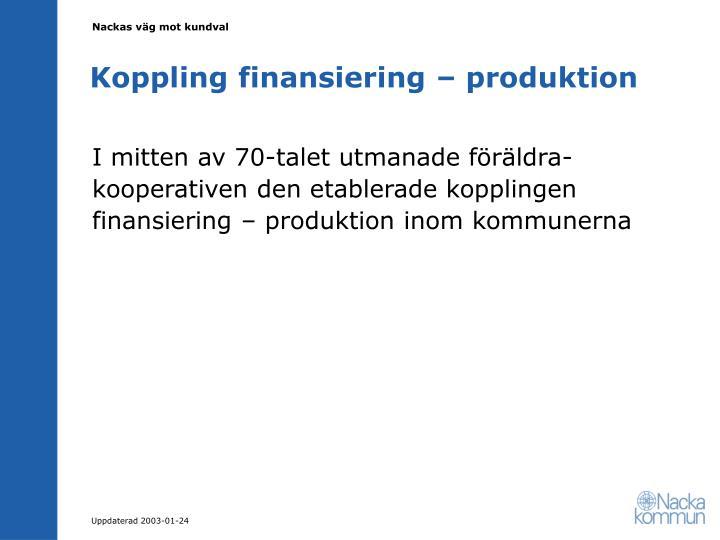 Koppling finansiering – produktion