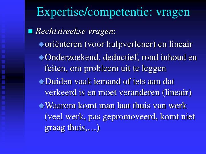 Expertise/competentie: vragen