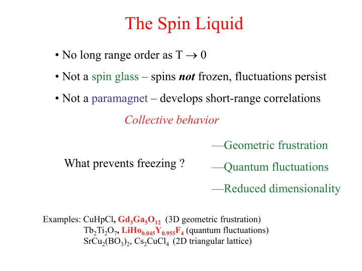 The Spin Liquid