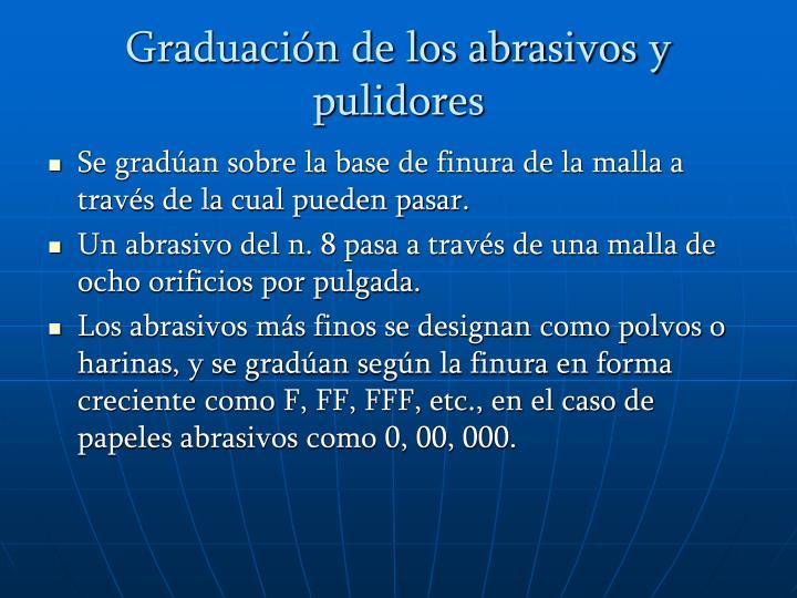 Graduación de los abrasivos y pulidores