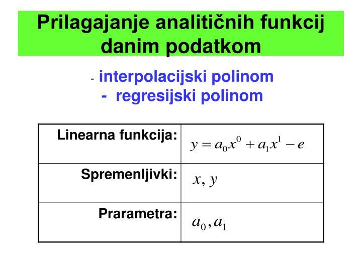 Prilagajanje analitičnih funkcij danim podatkom