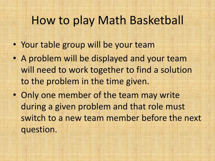 How to play math basketball
