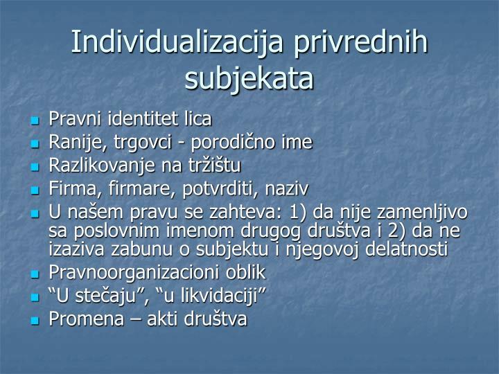 Individualizacija privrednih subjekata