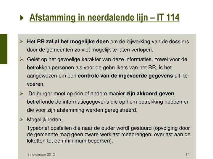 Afstamming in neerdalende lijn – IT 114