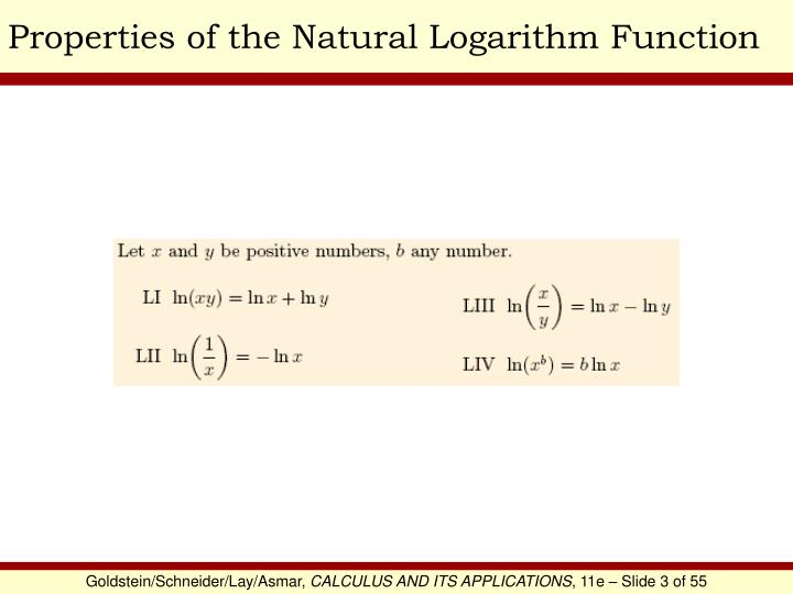 Properties of the Natural Logarithm Function