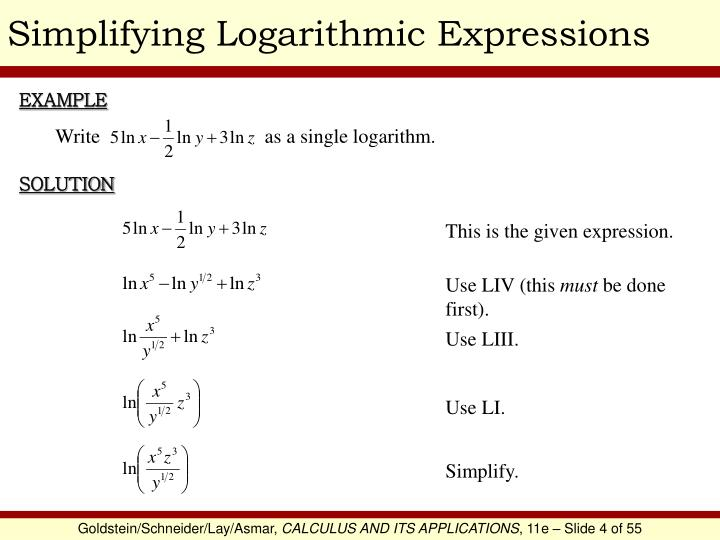 Simplifying Logarithmic Expressions
