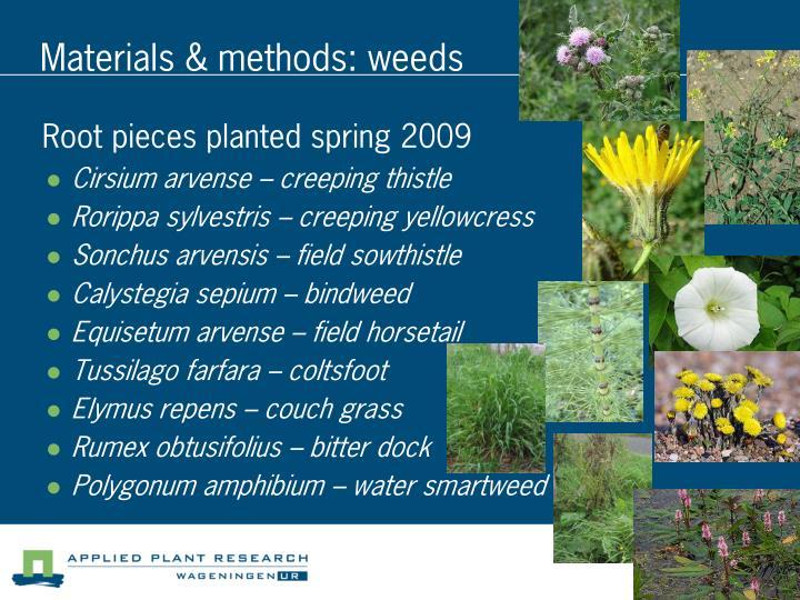 Materials & methods: weeds