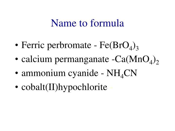 Name to formula