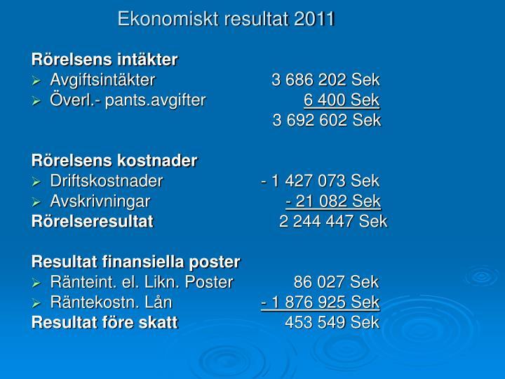 Ekonomiskt resultat 2011