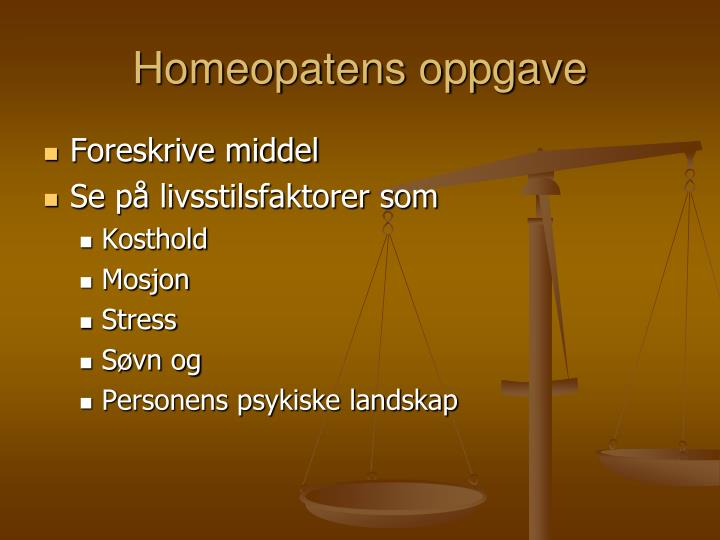 Homeopatens oppgave
