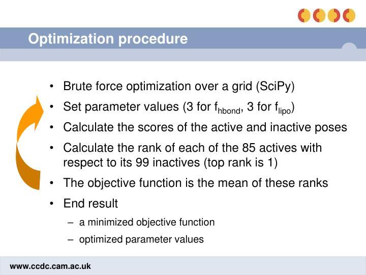 Optimization procedure