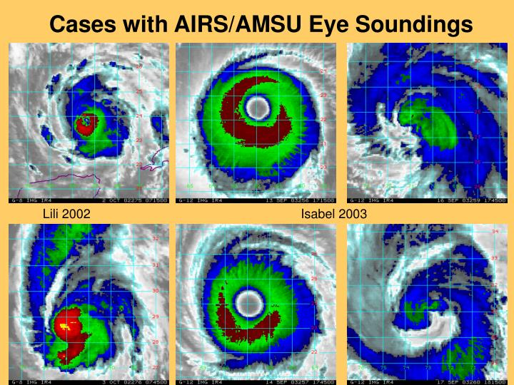Cases with AIRS/AMSU Eye Soundings