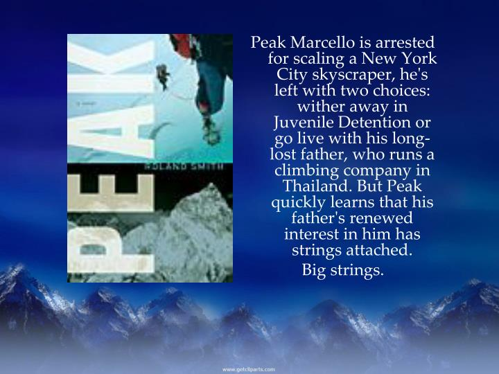 Peak Marcello is arrested for scaling a New York City skyscraper, he's left with two choices: wither away in Juvenile Detention or go live with his long-lost father, who runs a climbing company in Thailand. But Peak quickly learns that his father's renewed interest in him has strings attached.
