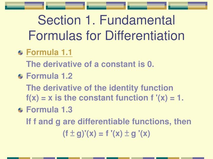 Section 1 fundamental formulas for differentiation