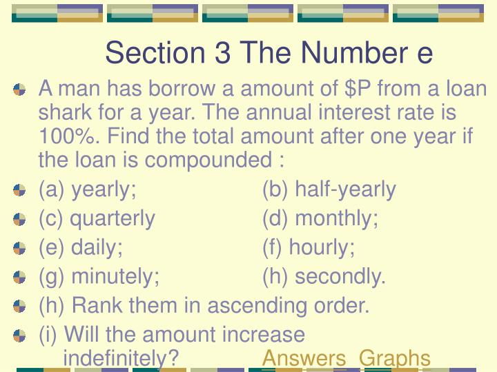 Section 3 The Number e