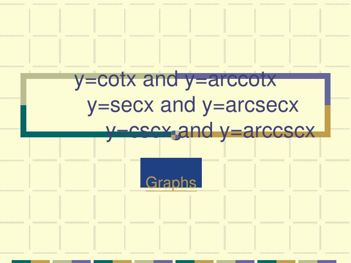 y=cotx and y=arccotx
