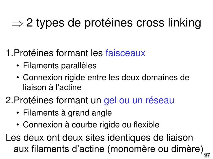  2 types de protéines cross linking