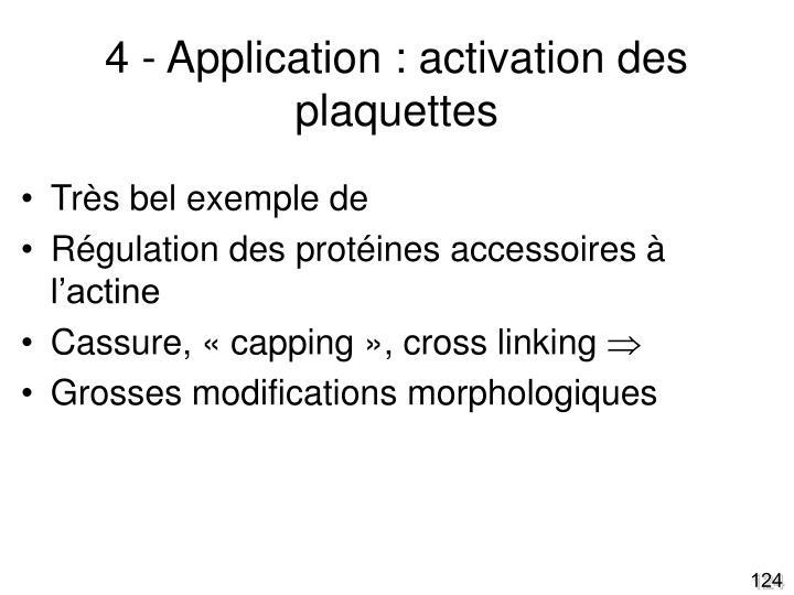 4 - Application : activation des plaquettes
