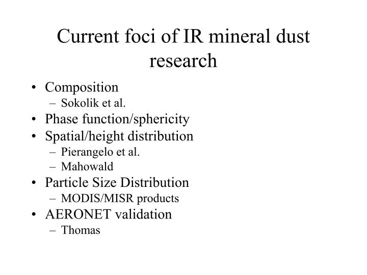 Current foci of IR mineral dust research