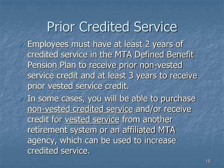 Prior Credited Service