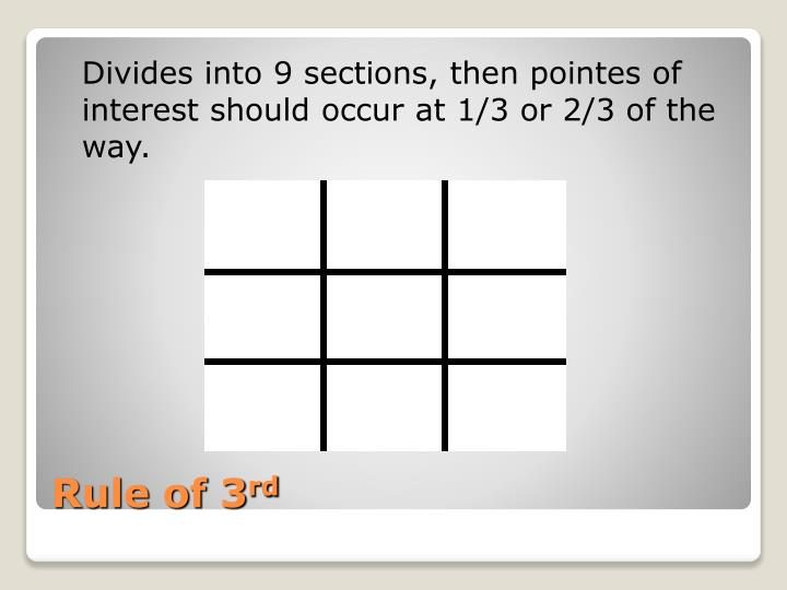 Divides into 9 sections, then pointes of interest should occur at 1/3 or 2/3 of the way.