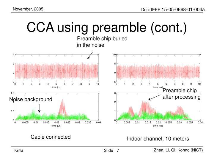 CCA using preamble (cont.)