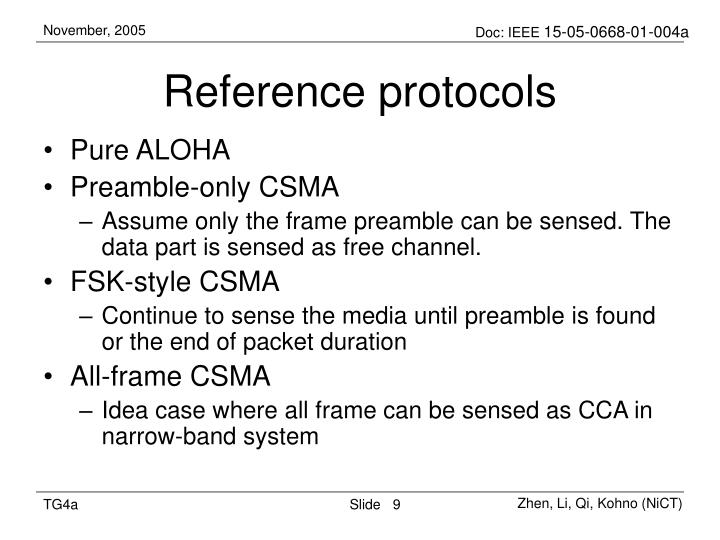 Reference protocols