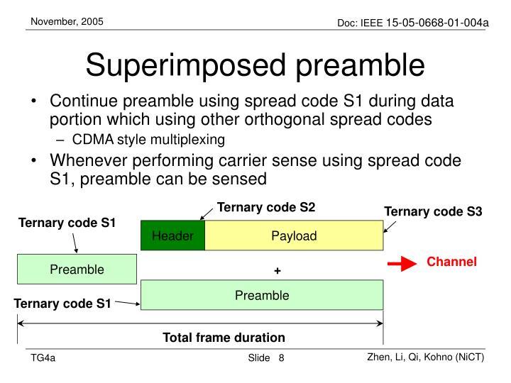 Superimposed preamble