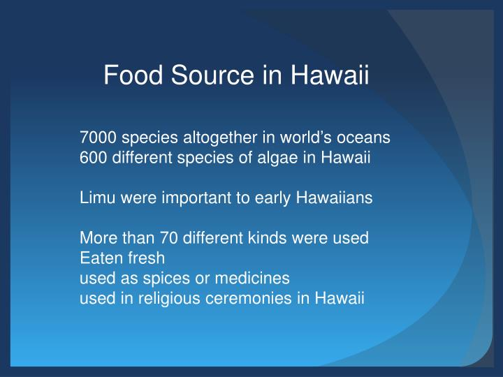 Food Source in Hawaii