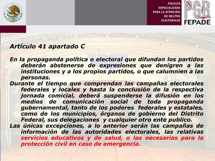 Artículo 41 apartado C