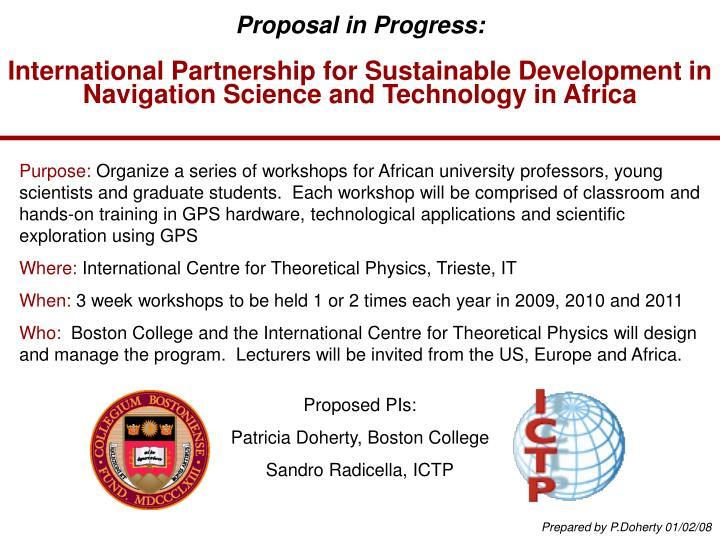 Proposal in Progress: