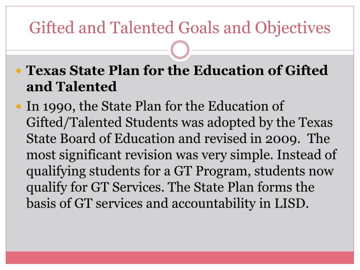 Gifted and talented goals and objectives