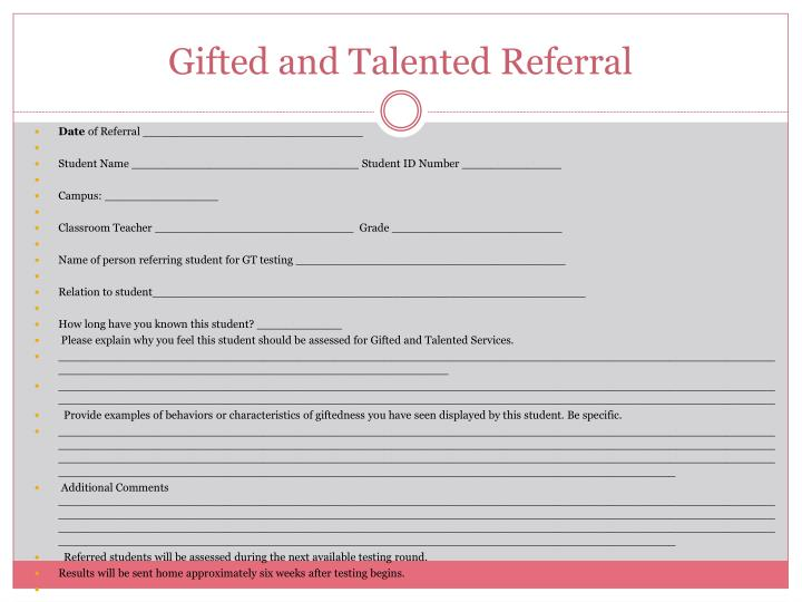 Gifted and Talented Referral