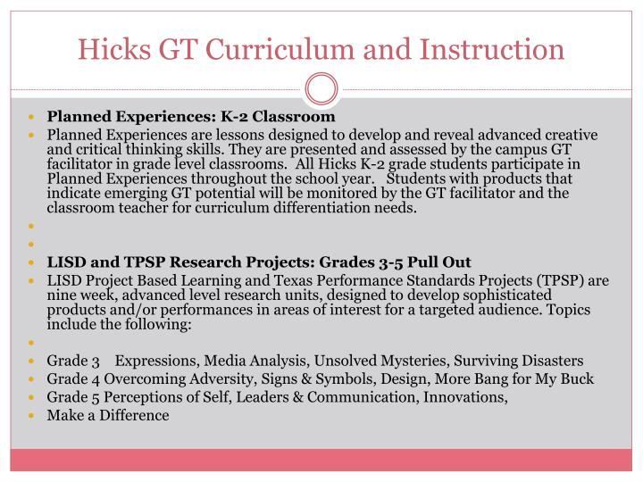Hicks GT Curriculum and Instruction