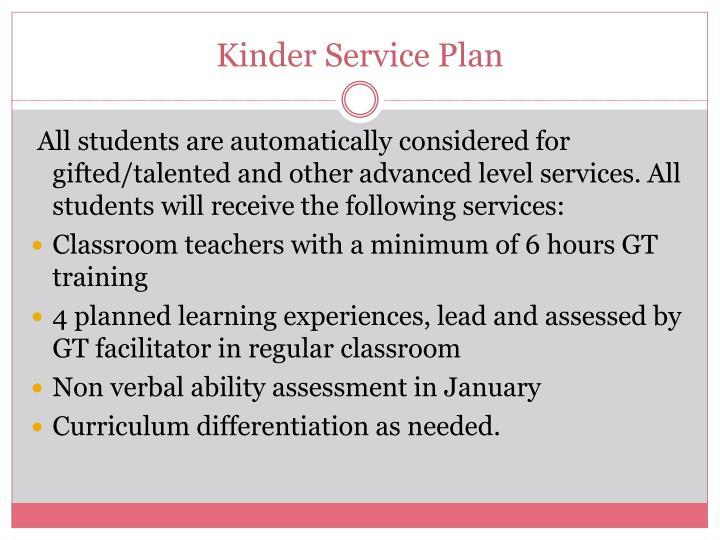 Kinder Service Plan