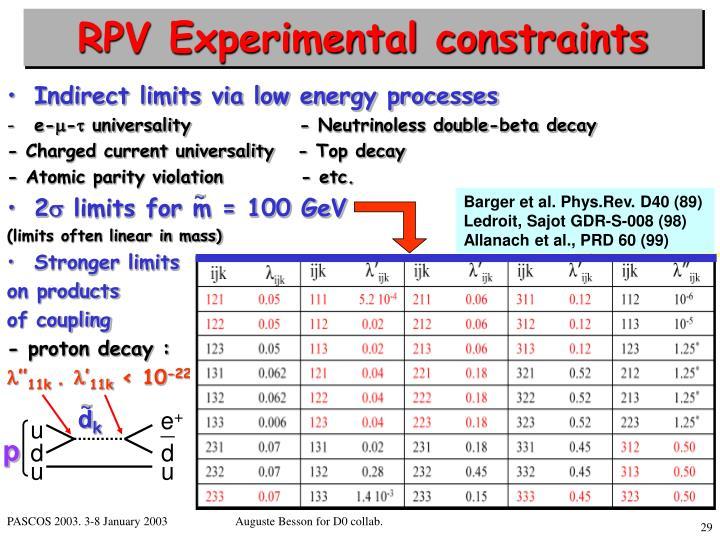 RPV Experimental constraints