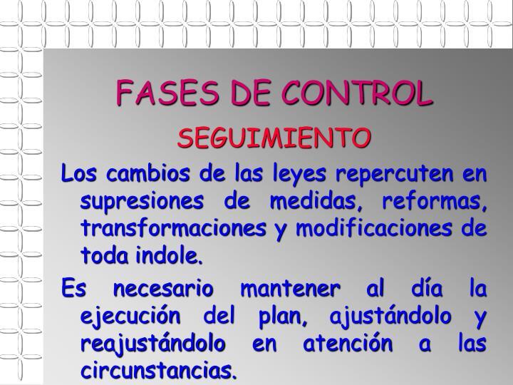 FASES DE CONTROL