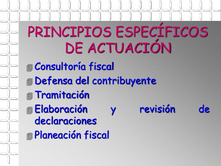 PRINCIPIOS ESPECÍFICOS DE ACTUACIÓN