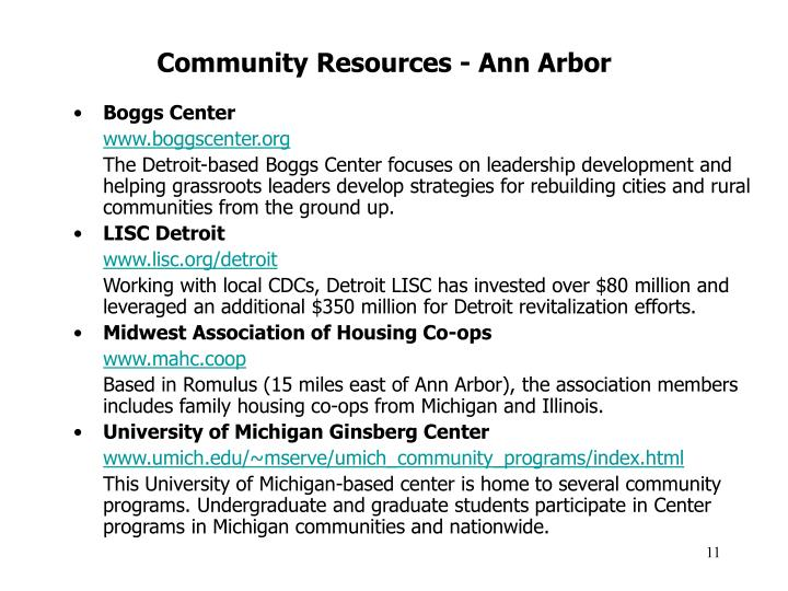 Community Resources - Ann Arbor